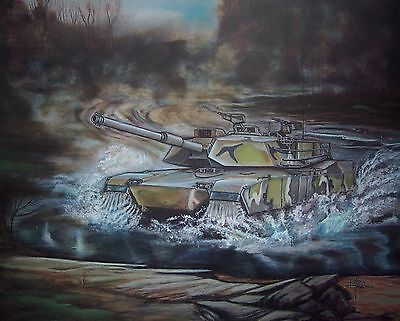 M1 ABRAMS Tank Military Color Lithograph by K. Randall Signed & Numbered w/Cert