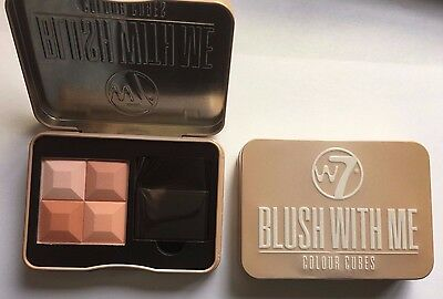 W7 Makeup Blush With Me Colour Cubes Powder Blusher With Brush Honeymoon