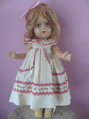 """Vintage Vogue 14"""" Composition Doll Ink Spot Label Pretty Tagged Dress"""