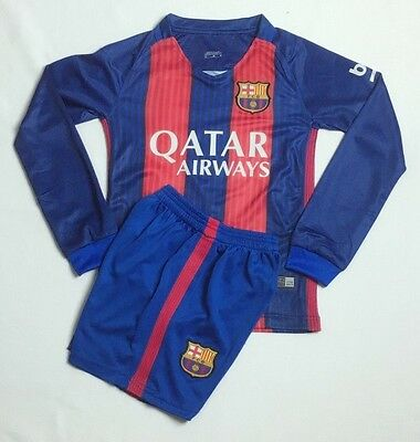 New 2017 Home #10 Messi Barcelona Kids Soccer Jersey Kit Long Sleeve Top+Shorts