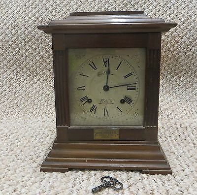 VINTAGE MANTEL CLOCK (1930s) WOODEN, WITH KEY / ANSONIA CLOCK CO. NEW YORK.