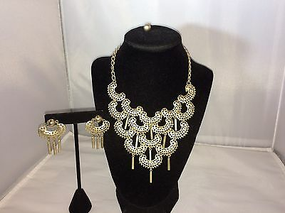 Vtg. Sarah Coventry Gold Tone Articulated Tribal/bib Necklace/earrings~Set