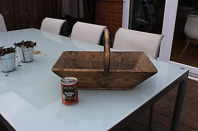 French rustic WOODEN TRUG genuine vintage garden or kitchen basket, old and used