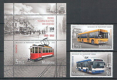Moldova 2013 Means of Urban Transport Bus Trolleybus 2 MNH stamps + Block