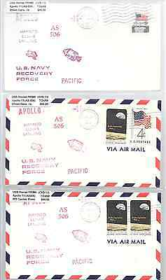SPACE: APOLLO 11  USS HORNET JULY 24, 1969 PACIFIC x 3 different Recovery cvrs
