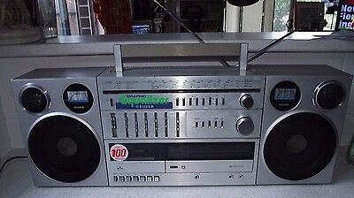 Vintage Retro Silver SR-8000 Boombox, 1980's Classic, Japan, Holy Grail.