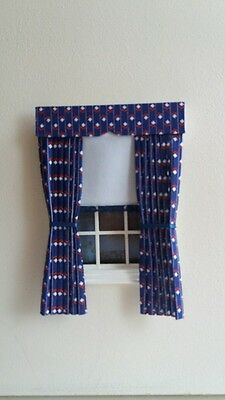 Dolls House Curtains Red White & Blue With White Blind In Laura Ashley Fabric