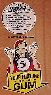 GYPSY FORTUNE TELLER GAMBLING Chance 5 CENT DECAL SET Gumball Vending Machine