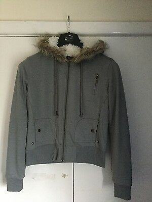 Ladies Apricot Fur Lined Hooded Jacket Size M