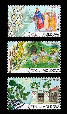 """Moldova 2016 """"Christian Festivals and Folk Traditions"""" 3 MNH stamps"""