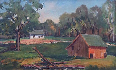 "Vtg Signed Orig Oil Painting ""farm Landscape"" By Indiana Artist Stella Coler"