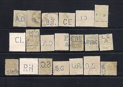 BELGIUM selection of 20 perfins perfores Used all different wide range see scans