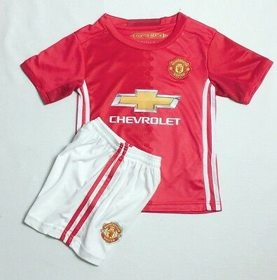 2017 New Kids Manchester United Home Soccer #6 PAUL POGBA Jersey Set Top+ Shorts