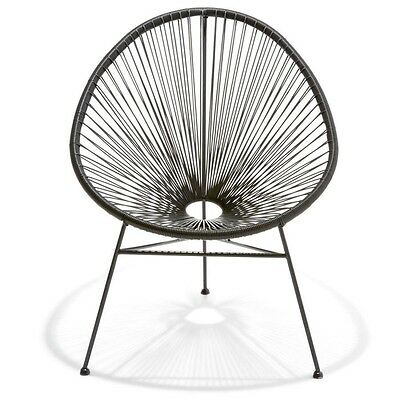 Home ACAPULCO-STYLE BLACK CHAIR, Retro & Fashionable for Any Outdoor Setting