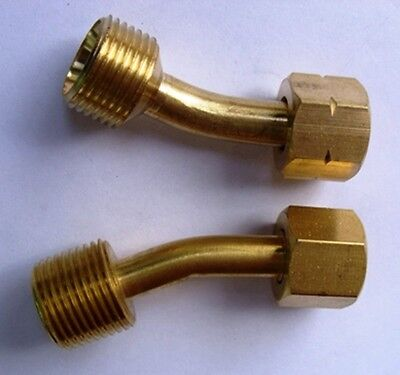BSP bent hose adaptors reduces 3/8 female hose to fit 1/4 male lightweight torch