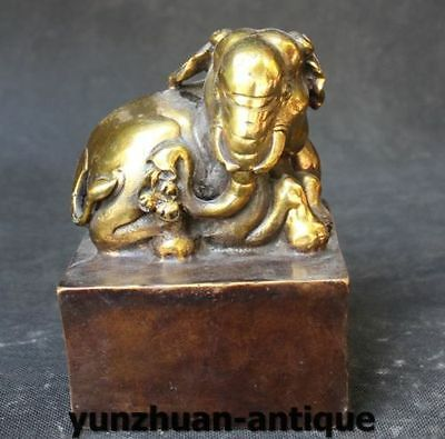 Chinese Bronze Gilt Animal Elephant Dynasty imperial Seal Stamp Signet Statue