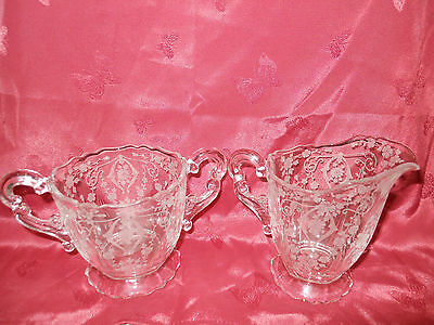 Cmbrige Open Footed Sugar and Creamer in Diane-Clear( (Stem 3122)