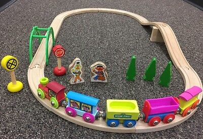 Vintage Sesame Street Express Wooden Train Magnetic  Set Fits BRIO From 1980's