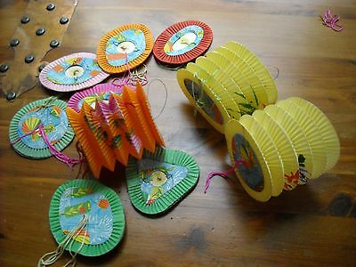 10 Vintage Chinese Accordion Paper Lanterns Old Set