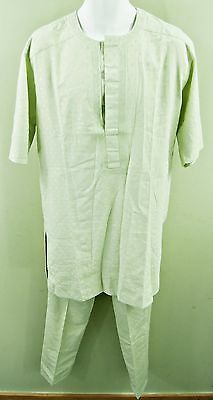"""Handmade Pale Green Short Sleeve Tunic & Trousers, 42-44"""" Chest, Tr097"""