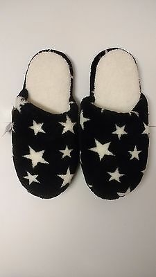Black With White Stars Fluffy Slippers Size 7-8
