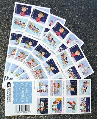 2015USA Forever Charlie Brown Christmas - Lot of 5 Booklets of 20 (100) peanuts