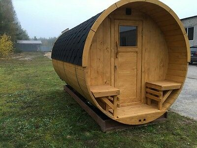 Barrel wooden sauna with electrical HARVIA heater, ready to go!