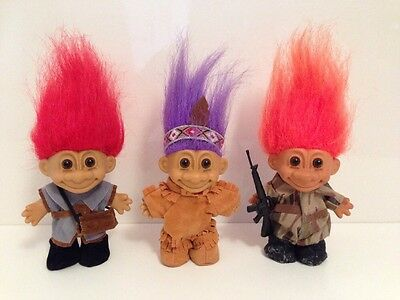 Assorted Russ Troll Character Toy Figure Bundle, Native Indian, Soldier