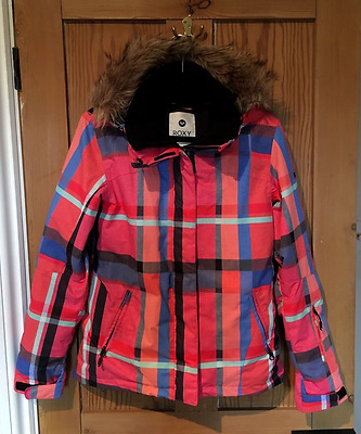 Roxy Ladies Ski Jacket - Size Large - Pink Checkered - Fur Hood