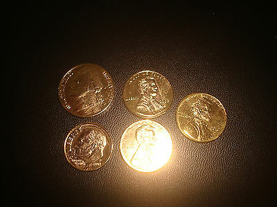 Lot Of 5 Gold? Plated Usa,us,american,america Quarter,nickel & Penny Coins
