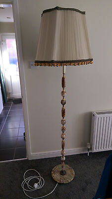 Vintage cream marble onyx and brass standard floor lamp with shade