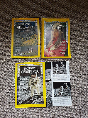 X3 National Geographic Magazines 1969 Moon Apollo Aug Sept Dec Vol 136