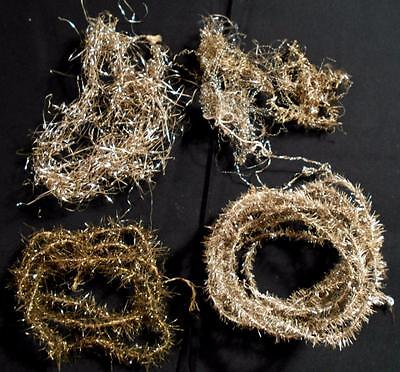 4 Pcs Vintage Victorian Feather Tree Tinsel Garlands,4Yds & 2 Unusual Misc Pcs