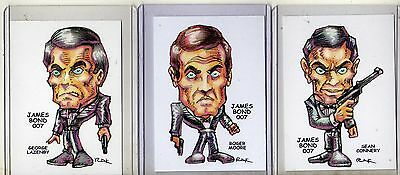 James Bond (3 Cards) Art Prints Sean Connery Roger Moore George Lazenby