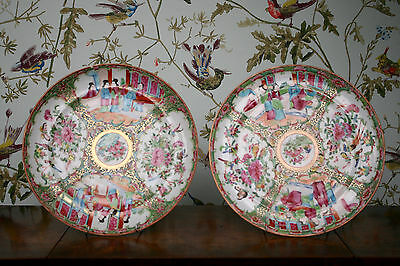 An Associated Pair Large c19th Antique Cantonese Famille Rose Plates