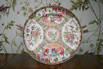 A Large c19th Antique Cantonese Famille Rose Plate for Restoration