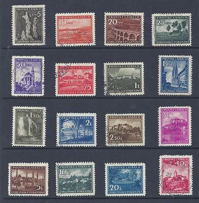 GERMAN OCCUPATION OF SLOVENIA 1945 LANDSCAPES SET OF 16 USED SG118/133 cat £1800