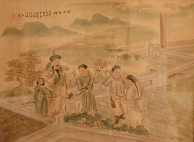 Antique Chinese Figural Silk Painting with Inscription