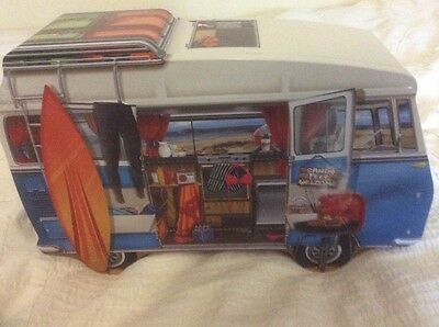 """VW STYLE CAMPERVAN BISCUIT TIN 12"""" x 8"""" Approx"""
