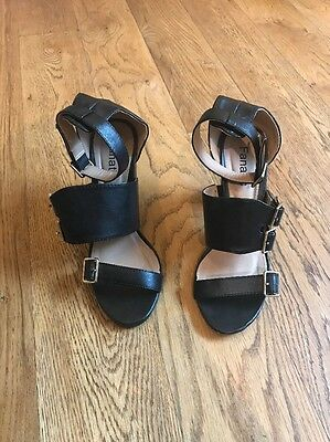 Strappy Chunky Sandal Heels Size 7 Black Faux Leather Gold Buckles ASOS Garage
