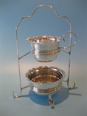 A Stunning Vintage Silver Plated Sugar Bowl & Milk / Cream Jug On Two Tier Stand