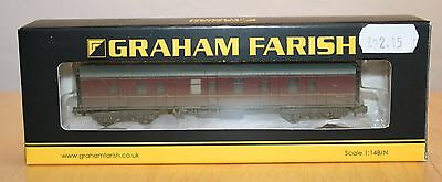 Farish n gauge coach, MK1 BG Full Brake BR maroon, weathered, boxed