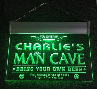 Light Up Acrylic Charlie's Man Cave Football Game Room Bar Neon Beer Sign 14.99
