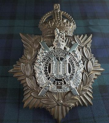 A King's Own Scottish Borderers Silver Fretted (KC) Helmet Plate 19901-1903.