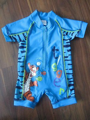 Boys TIGGER Winnie the Pooh UV sunsuit sun safe suit 3-6 months VGC swimming