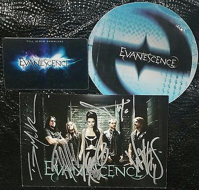 EVANESCENCE LOT: ticket, signed photo, sticker, promo download card Amy Lee