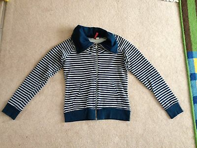 Divided H&m Ladies Womens Striped Zip Sweatshirt Top Size 34 / 10 Turquoise Navy
