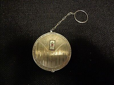 Vintage Hand Painted Enamel & Nickel Silver Finger Chain Compact Rare Find!