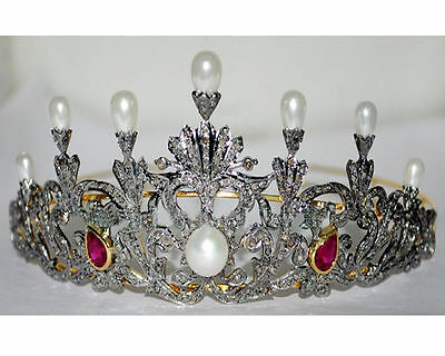 Victorian Reproduction 12.50cts Rose Cut Diamond Jewelry Silver Pearl Tiara