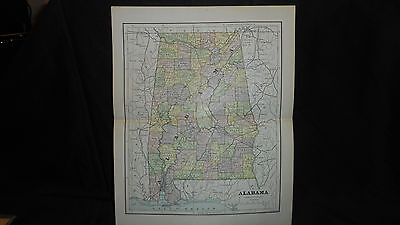 Antique Map Alabama1882 Color Map  13 X 10 3/4  See Others In Store